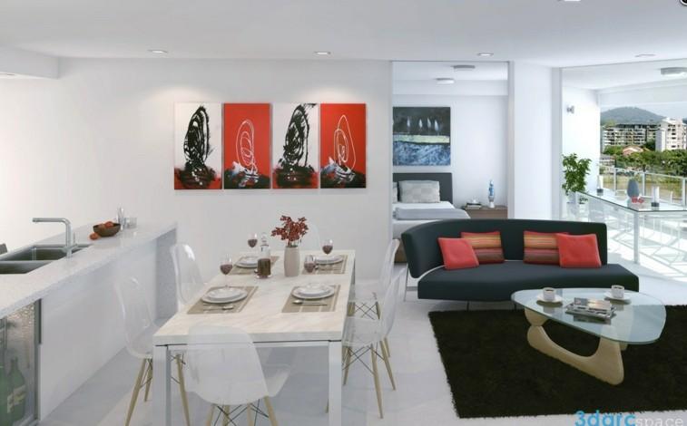 Decorar salas de estar en blanco y negro se atreve for Sala de estar y cocina