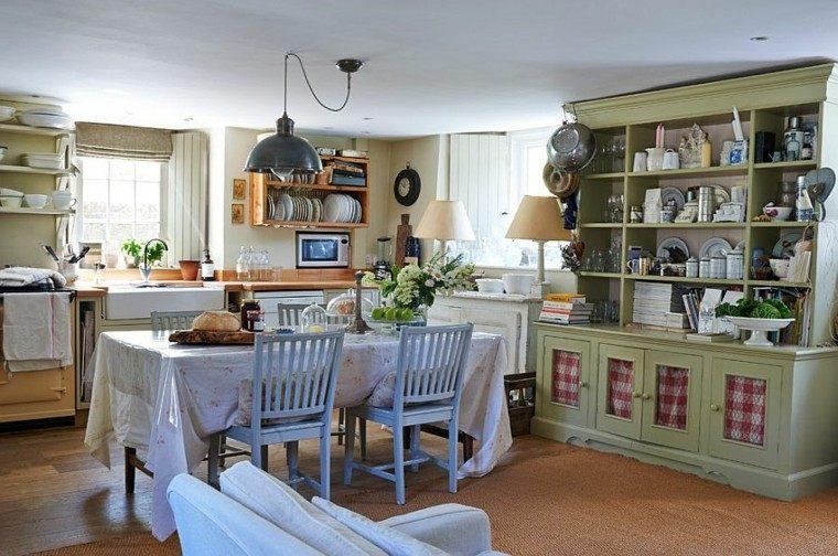 comedor cocina espacio combinado estantes