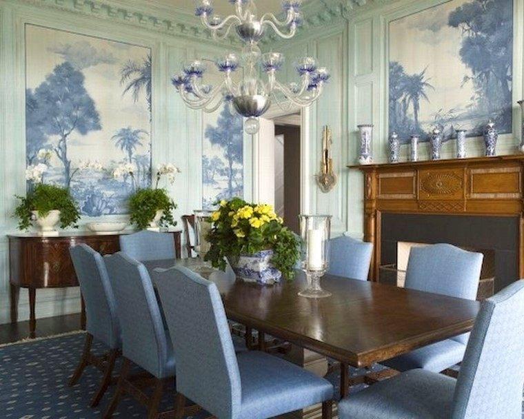 Papel para paredes en comedores con mucho estilo for Sillas azules comedor