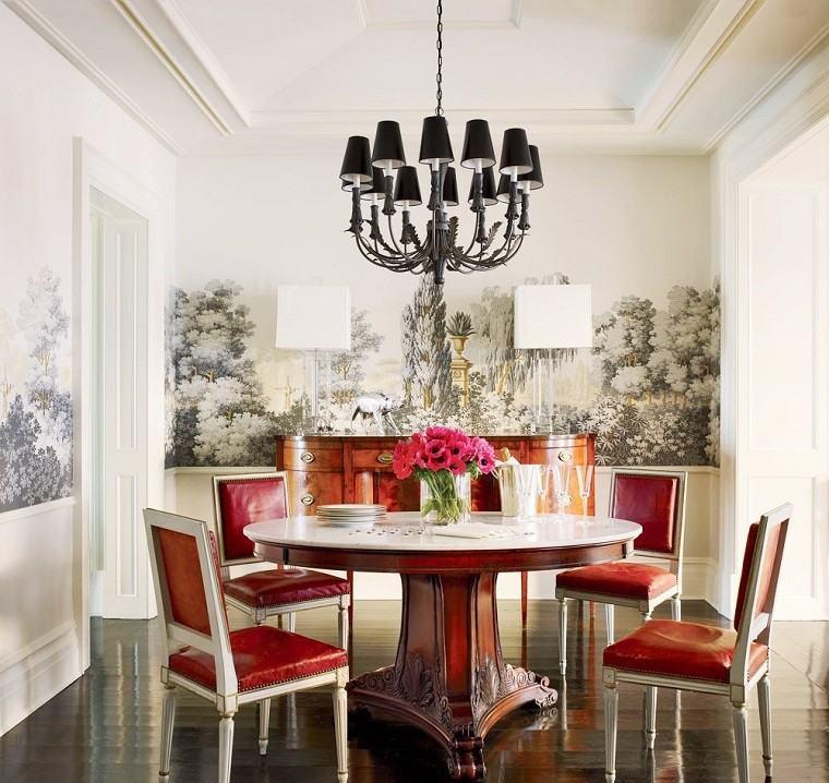 comedor estilo sillas cuero rojo ideas modernas