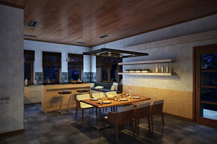 Interiores modernos 65 ideas para la decoraci n for Modelos de cocina comedor pequenos