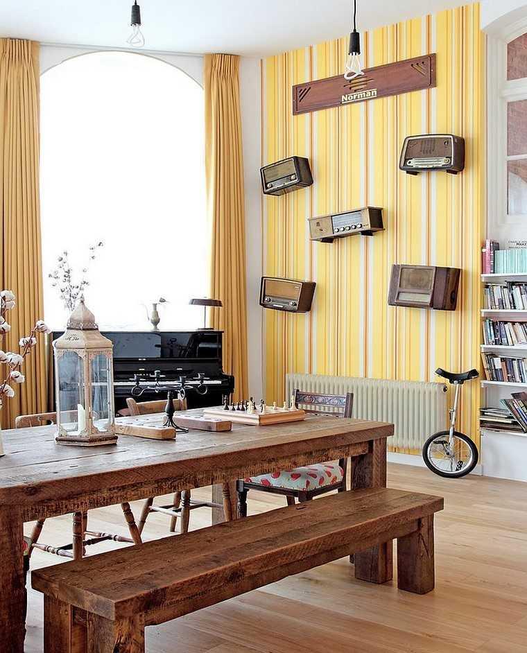 comedor moderno papel pared color amarillo ideas