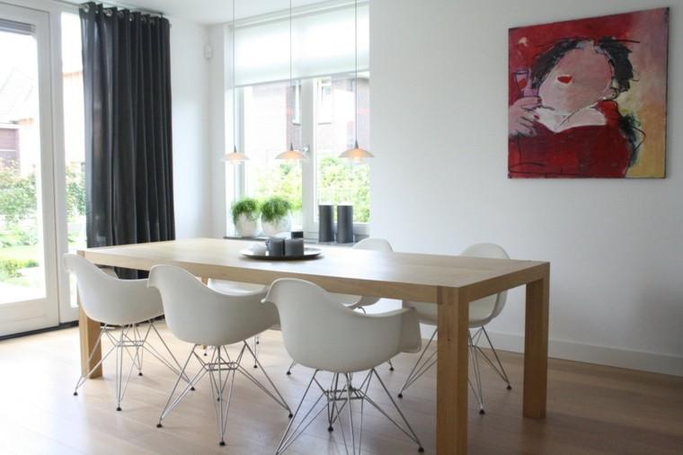 comedor moderno sillas redondas blancas