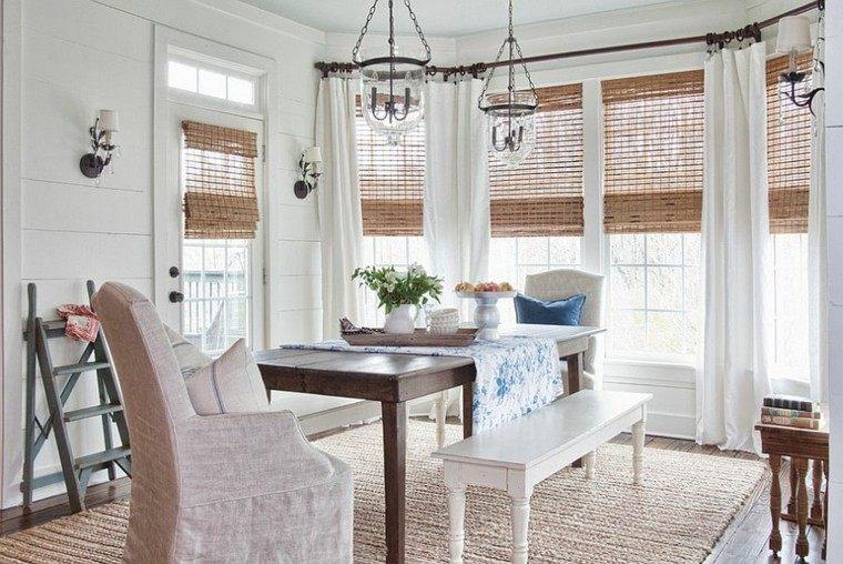 iluminado natural madera manteles cortinas