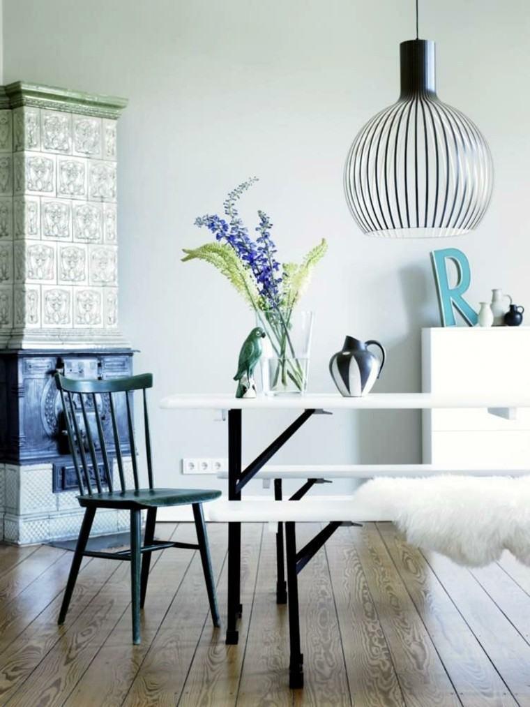 comedor pequeno suelo madera mesa bancos ideas