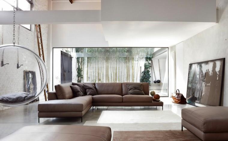 conjunto sofa sillones piel marron