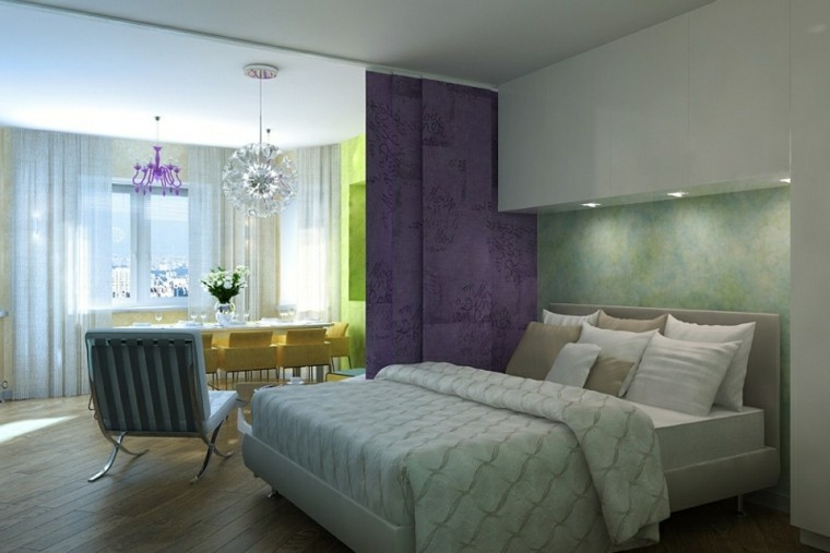cortina morada separadora dormitorio sala