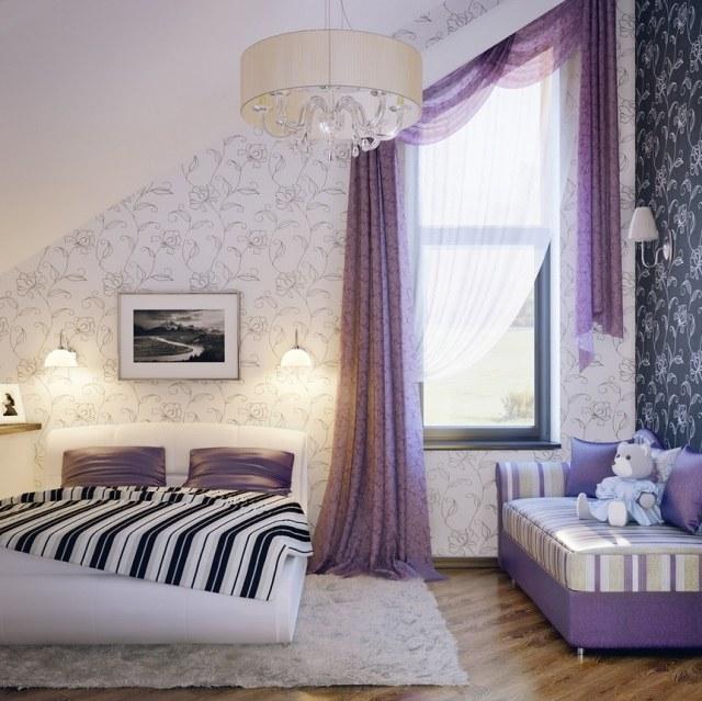 cortinas torcidas color purpura papel