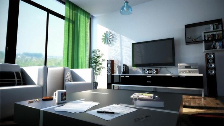cortinas verdes salon blanco negro