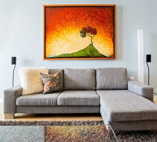 cuadro color naranja intenso arbol