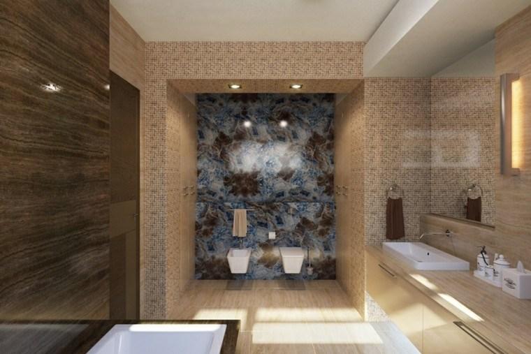 cuarto baño paredes moasaico azulejos
