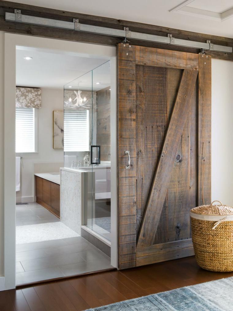Puertas correderas de madera para el cuarto de ba o for Puertas para bano exterior