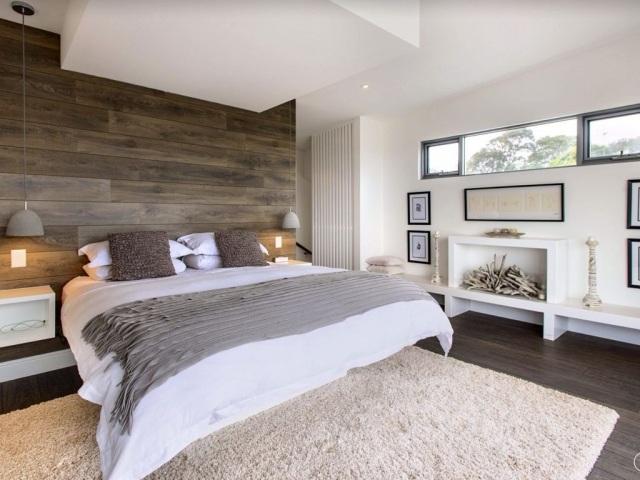 paleta de colores cuarto moderno cabecero madera cama
