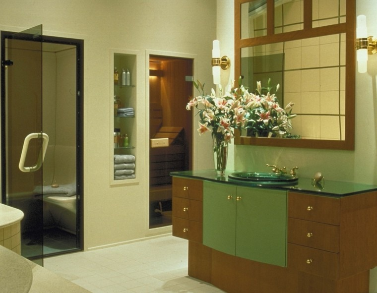 cuarto baño sauna color verde