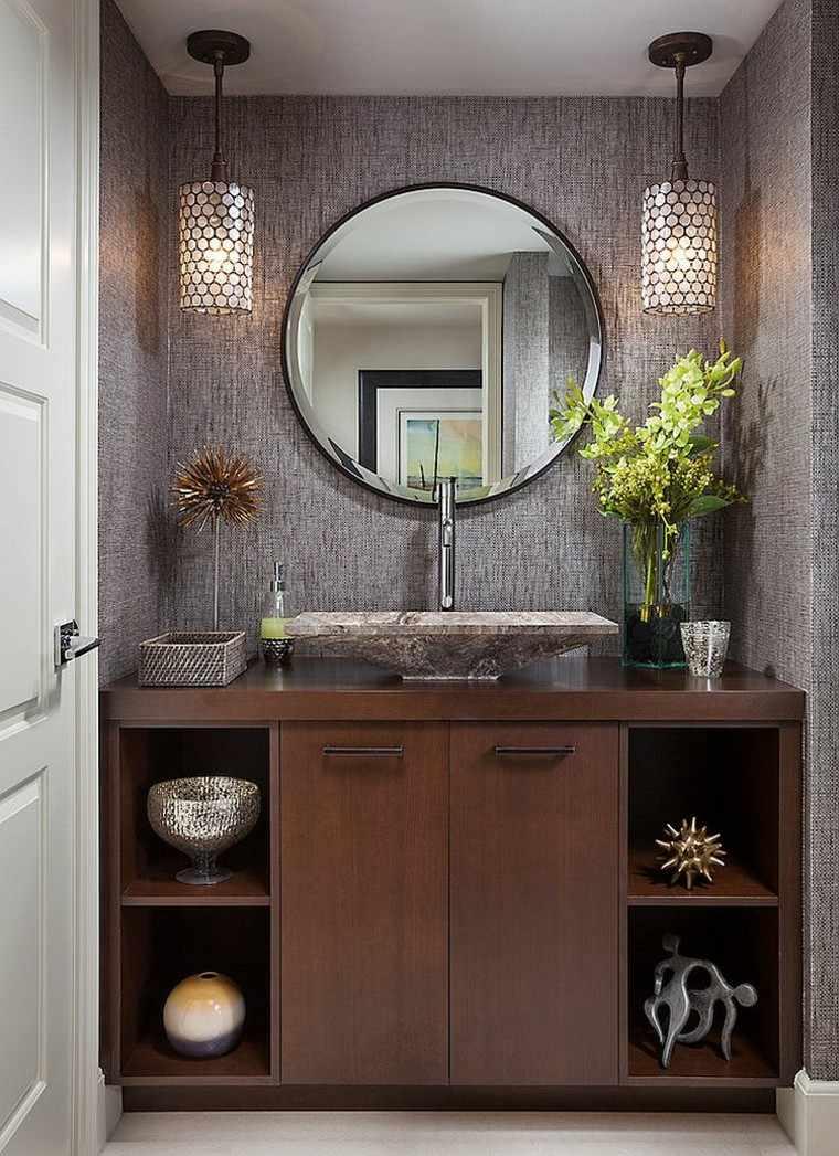 Lamparas Para Cuarto Baño:Cuartos de baño decoracion, tocador con mueble de madera