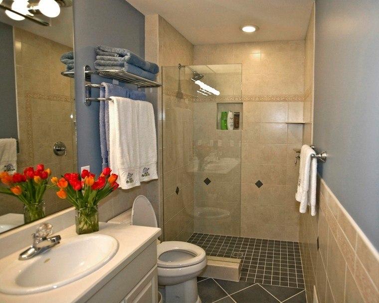 cuartos de bano con ducha estecho tulipanes decorativos ideas