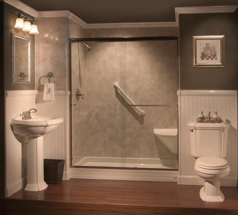 cuartos de bano con ducha estilo contemporaneo mampara madera