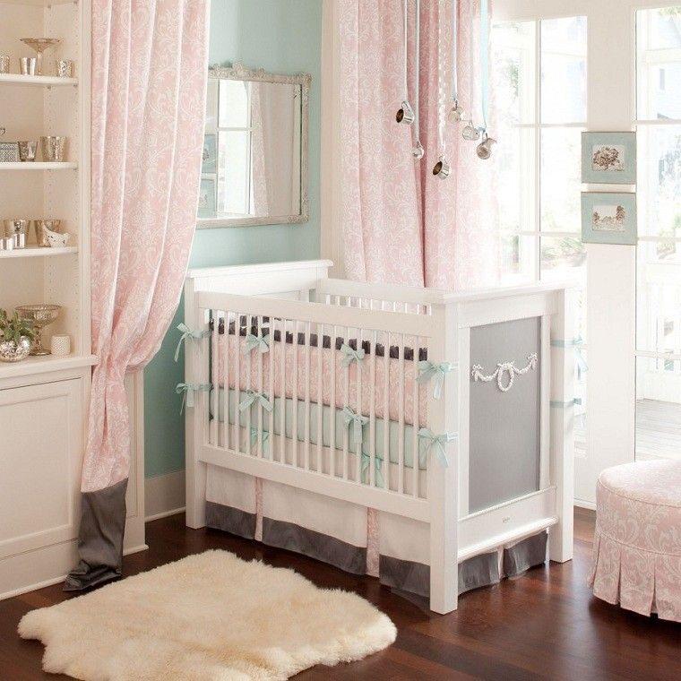 cuna rosa espejo cortinas diseño rosa
