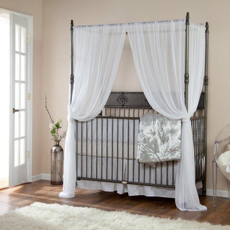 cunas bebe cortinas blancas cama acero modernas
