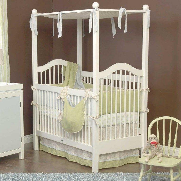 decoración cunas bebe dosel combinacion blanco verde ideas