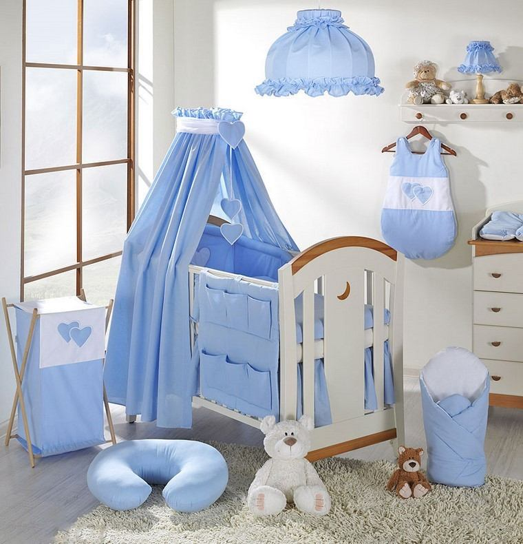 cunas bebe dosel decoraciones azul cama blanca ideas