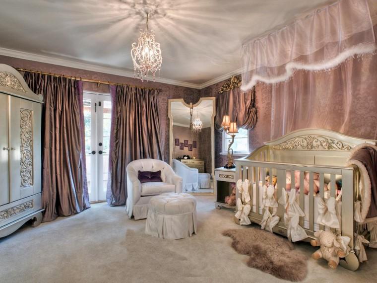 decoración cunas bebe habitacion lujosa cama madera ideas