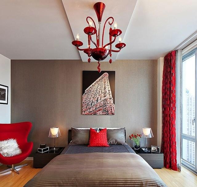 decoracion cuarto rojo marron