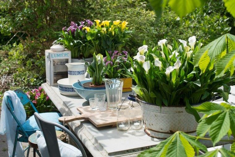 accesorios jardin mesa flores