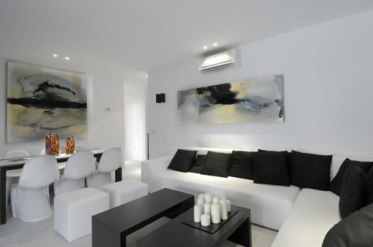 decoracion colores blanco negro salas