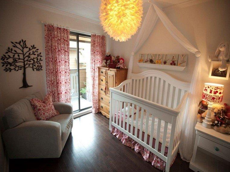 decoracion cunas bebe cama blanca cortinas modernas