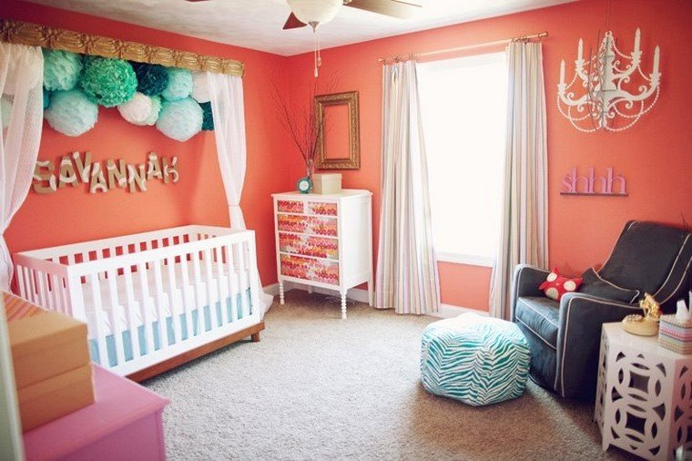 decoración cunas bebe cama dosel rosa modernas