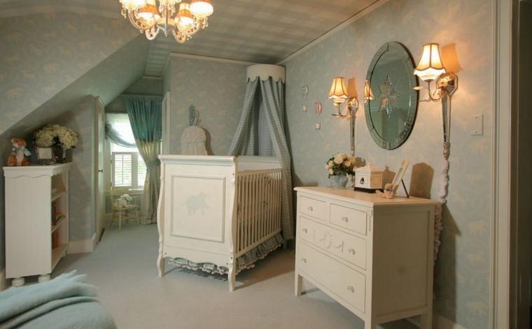 decoracion cunas bebe cama madera blanca moderna