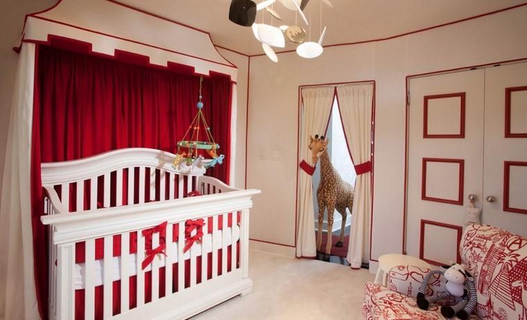decoracion cunas bebe combinacion rojo blanco ideas