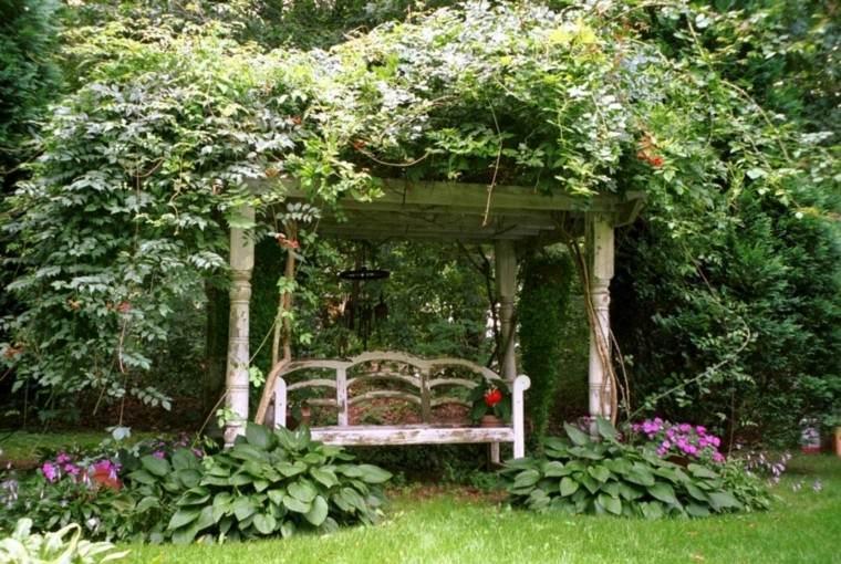 decoración de jardines banco pergola naturalidad ideas