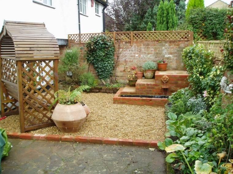 decoración de jardines pergola madera maceta grande ideas