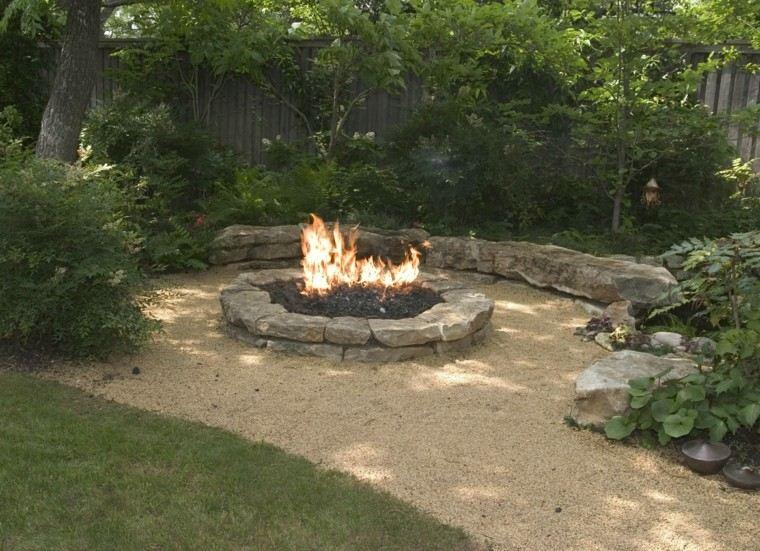 decoración de jardines traseros lugar fuego ideal moderno