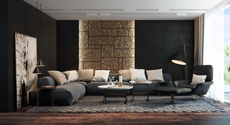 decoracion de salones modernos acentos piedra ideas