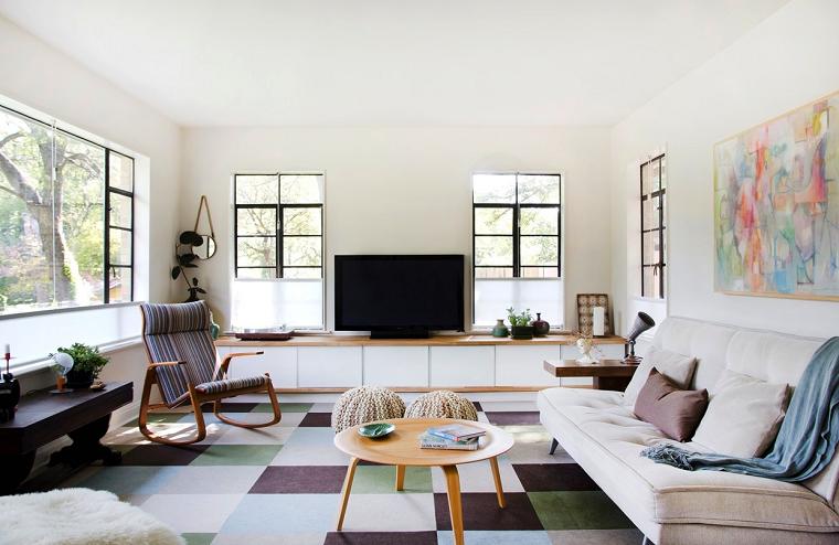 decoracion de salones modernos alfombra colores vibrantes ideas