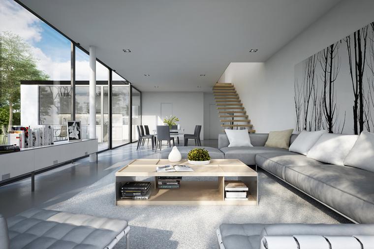 decoración de salones modernos amplio luminoso ventanales ideas