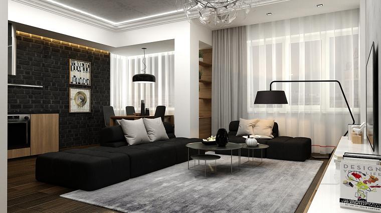 decoración de salones modernos colores blanco negro ideas