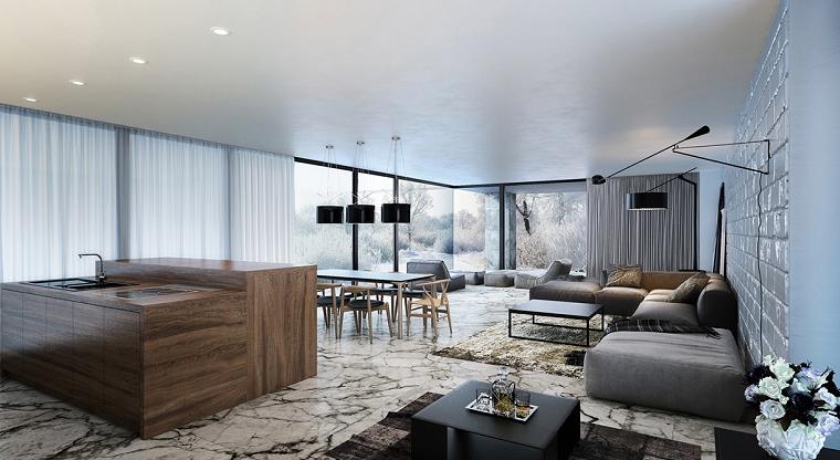 decoración de salones modernos isla madera grande ideas