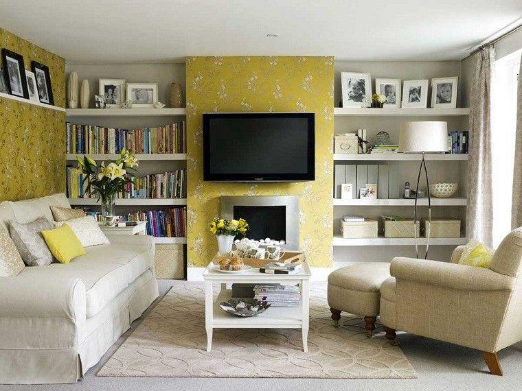 decoracion de salones pequeños amarillo pared muebles