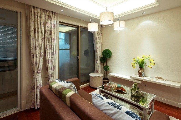 decoracion de salones pequeños cortinas elegante flores