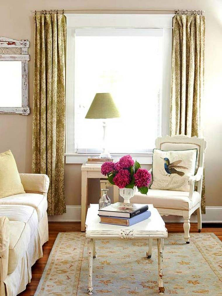 decoracion de salones pequeños muebles madera cortinas