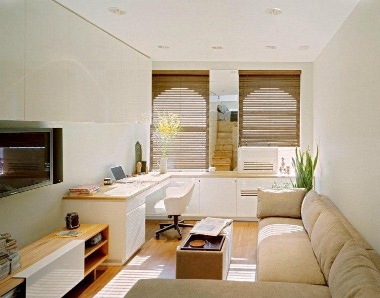 decoracion de salones pequeños plantas sillas sofa