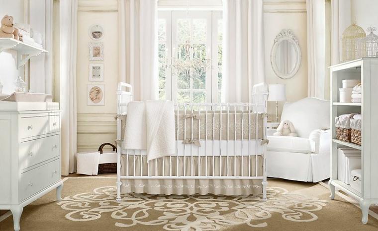 decorar habitacion bebe blanca cuna