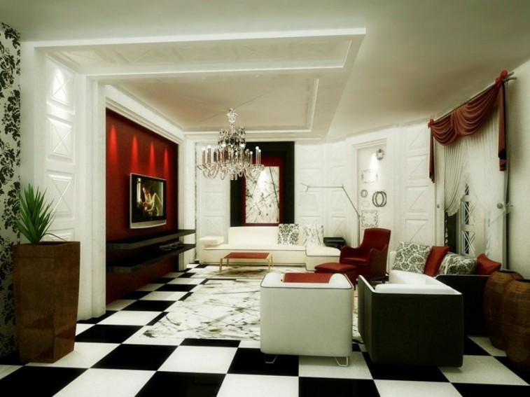 decorar salas salones suelo ajedrez