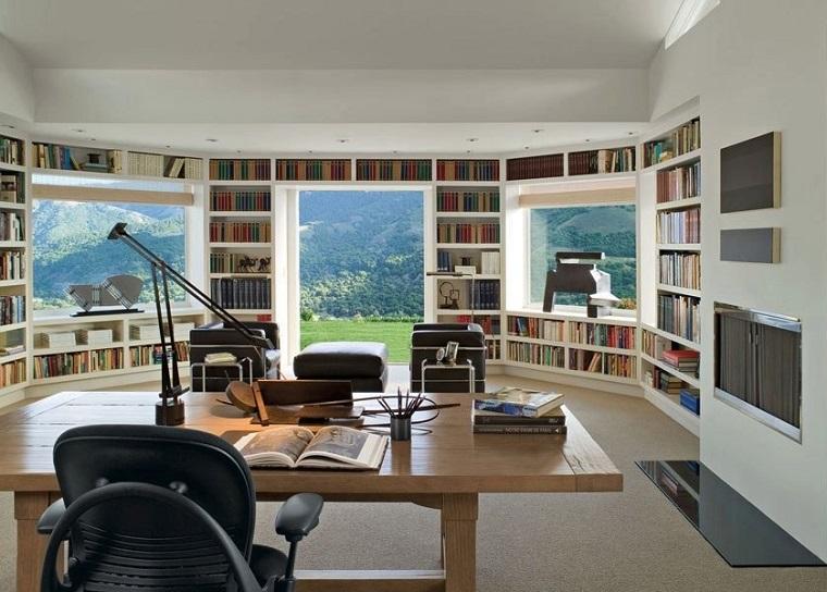 despacho biblioteca vistas montaña libros