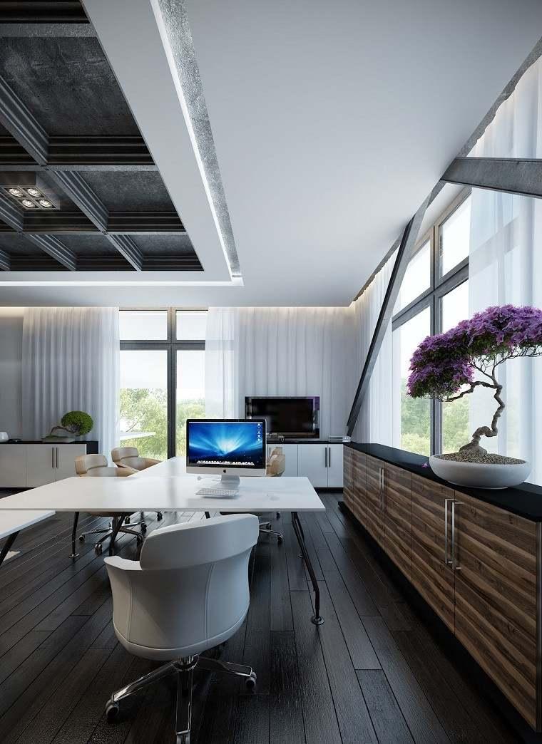 despacho oficina color blanco madera