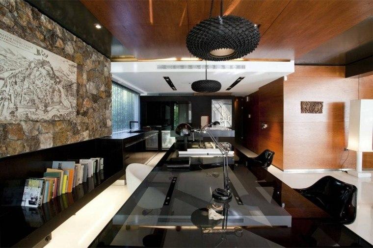 despacho oficina techo madera laminado